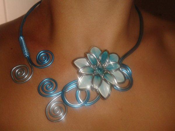 Collier fleur turquoise