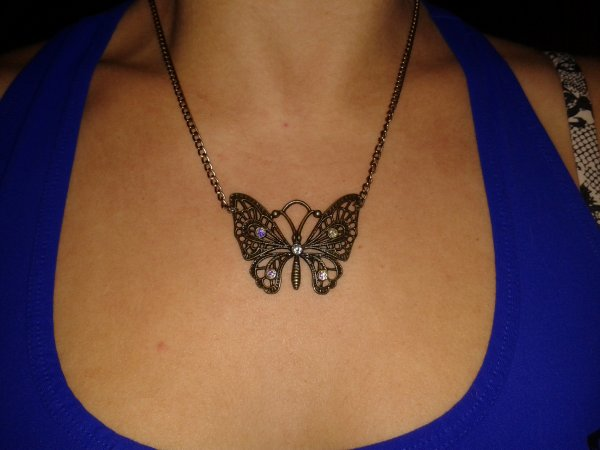 Collier papillon bronze