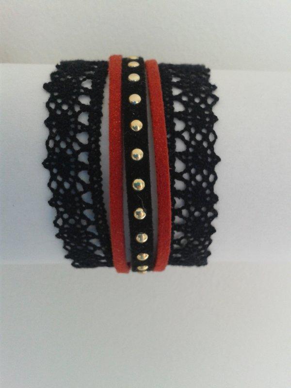Bracelet dentelle noir et rouge