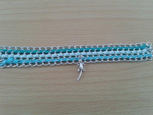 Bracelet dégradé bleu, vert d'O et turquoise
