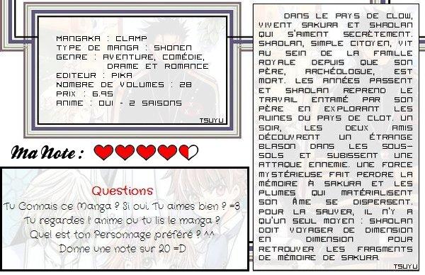 ... Tsubasa Reservoir Chronicle de CLAMP [ Aventure, Comédie, Drame, Fantasy & Romance ] ...