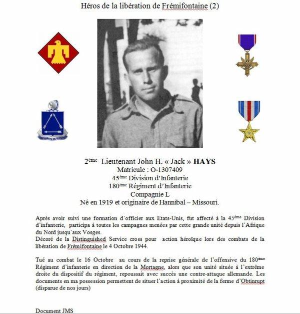 Heros de la libération de Frémifontaine - American hero liberator of Frémifontaine
