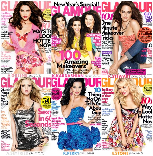 6 couvertures pour le magazines GLAMOUR mais la quelle est celle que tu préfère?