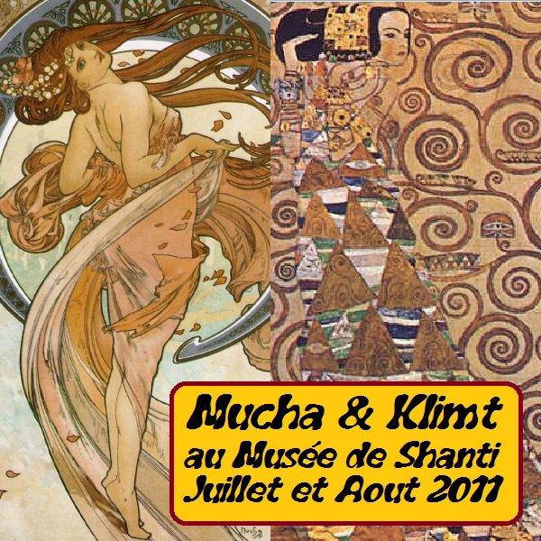 Affiche de l'expo Mucha et Klimt
