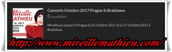 Mireille Mathieu im Oktober 2017               Infos und .....