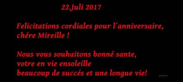 """22.Juli 2017                      """" L´anniversaire de Mireille Mathieu"""" ............. und 2 neue Videos bei RTVe"""