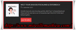 2018  * Mireille Mathieu  *  Welt Tournee