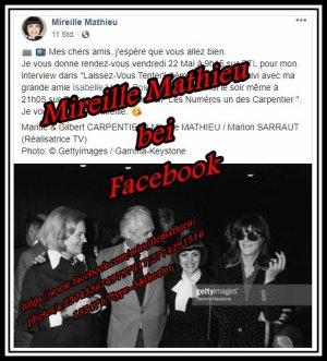 "Mireille Mathieu ...HEUTE  bei RTL ""Laissez-vous tenter"" und am Abend bei France3"
