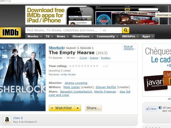 """""""The Empty Hearse """" est déjà inscris sur le site  IMDb ! :)"""