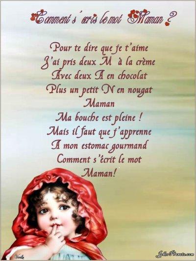 Se Poeme Et Pour Ma Mere Que Jaime Et Jaimerer Tous Ma Vie