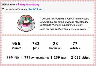 Le premier anniversaire du blog!
