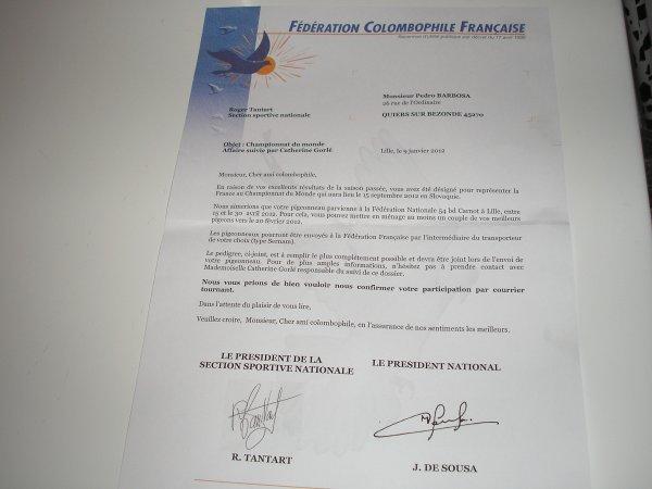 Lettre  Federation  Colombophile Française