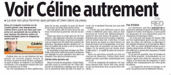 """Celine on """"Le Journal de Montréal"""""""