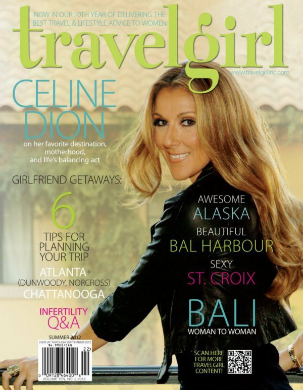 "Celine on the cover of the Summer issue 2012 of the American travel magazine ""Travelgirl""!"