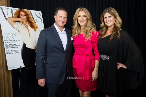 Celine with Abby Tegnelia (Journalist) and Josef Vann (Publisher of Vegas magazine) backstage at Caesars Palace on August 19th!