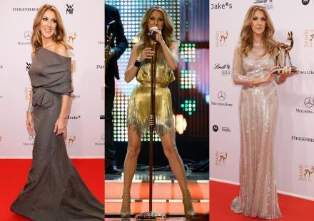 Céline Dion : trois robes pour recevoir son Bambi !