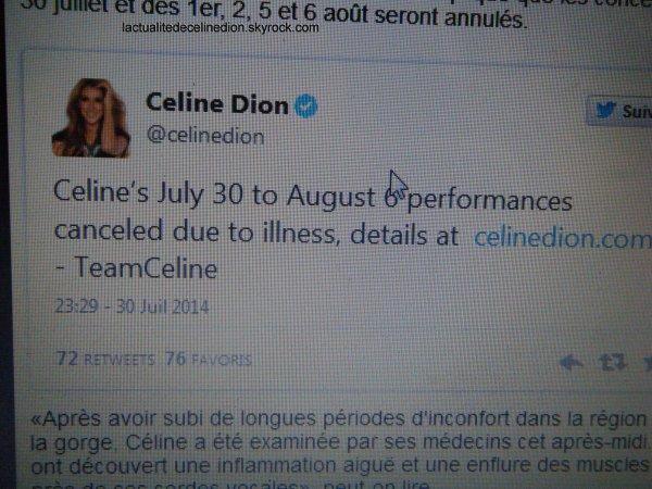 Céline Dion annule 5 concerts à cause de maux de gorge