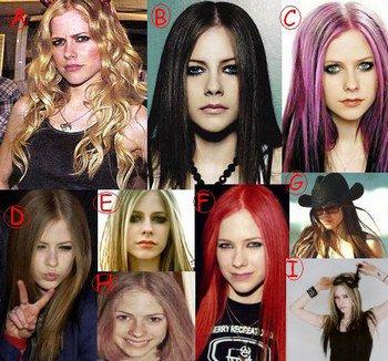 toutes les couleurs de cheuveux qu'elle a eu.