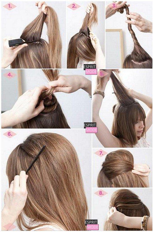 Attacher ses cheveux avec une coque bombée : demi-queue et queue de cheval.