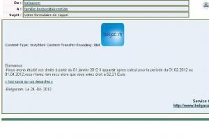 arnaque a l e-mail  pour les belges    attention