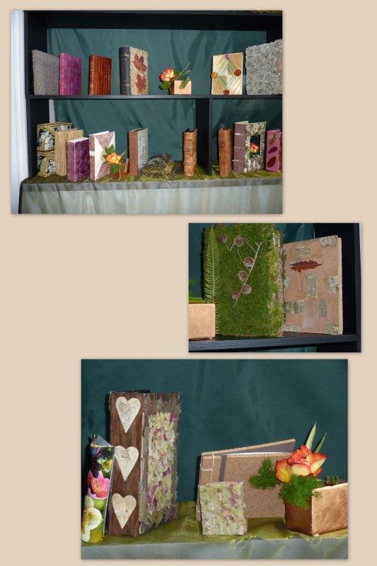 Exposition Brécey : livres en végétaux