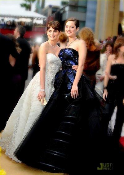 Marion Cotillard en robe Dior et Penelope Cruz pour les oscars 2009