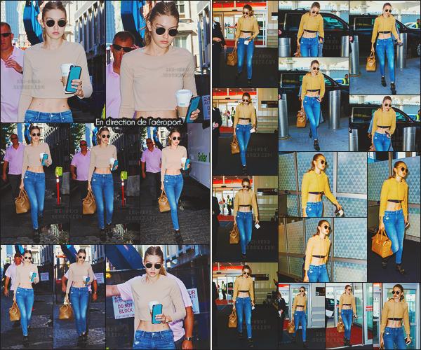 - -• 24/07/16- : Après le shooting photo, Gigi Hadid a quitté le set en direction de l'aéroport « JFK »  - toujours à New-York.    Retour au bercail pour Gigi H, elle rentre en Californie plus précisément à Los Angeles .. Pas de changement de tenue, la même que précédemment. -