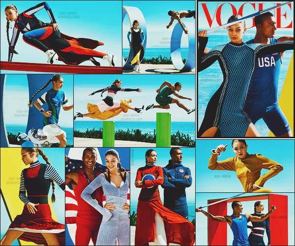 . • Pour sa première couverture de « Vogue USA », on retrouve une Gigi très sportive.À l'ocassion des Jeux Olympiques se déroulant à Rio - Devant l'objectif de Mario Testino - Gigi Hadid pose aux côtés du grand sportif Ashton Eaton. .