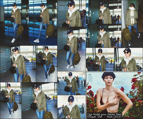 - -• 21/07/16-' : La blonde Gigi Hadid a été photographiée à l'aéroport JFK qui se trouve à New-York, - en direction de Paris.    Jelena a posté un snap pour dévoiler sa destination ! Un cliché de Steven Klein pour le magazine Vogue USA a aussi été dévoilé il y a peu. Un top ? -