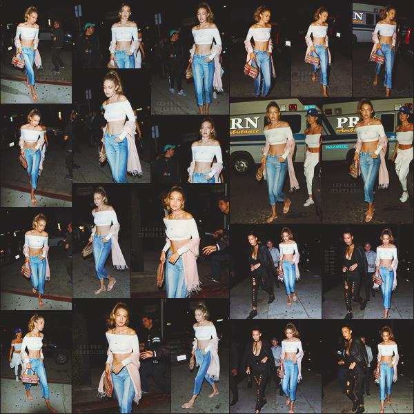 - -• 23/08/16- : Les deux soeurs Hadid se sont rendues tard dans la soirée au restaurant - « The Nice Guy »  se situant à LA.    À savoir - Gigi H. partira à la rencontre de ses fans dès le mois prochain dans les boutiques Tommy Hilfiger afin de promouvoir sa collection capsule. -