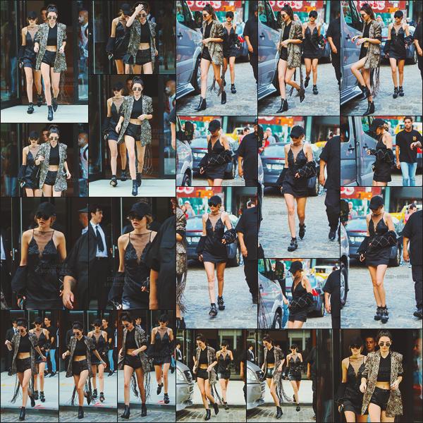 - -• 24/07/16- : Les deux BFFs KenGi quittaient l'appartement de Gigi Hadid sous les flashs des photographes - à New-York.    Une fois de plus, le duo n'est pas passé inaperçu. Gigi portait une robe fine noire cependant j'aime moins les bottines ! Avis sur cette sortie de KG ?? -