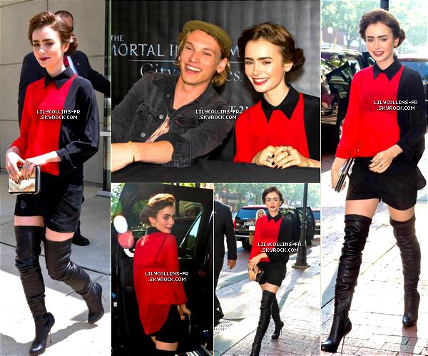 02\08\13 : Lily était au The Mortal Instruments : City of bones tour - Franklin Mall en philadelphie. Je n'aime pas trop sa tenue, pour moi c'est un boff...