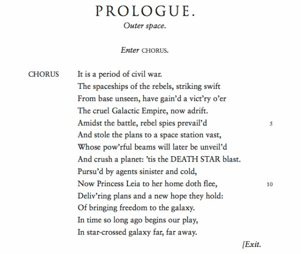 MAY BE THE FOURTH WITH THEE- If Skakespeare had written Star Wars