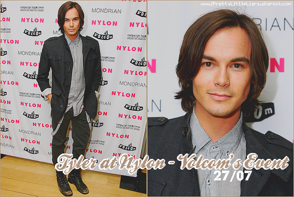 """- Event : Tyler Blackburn  -  Tyler Blackburn (Caleb dans la série) s'est rendu à la soirée """"Nylon + Volcom"""", ce 27 juillet.    -"""