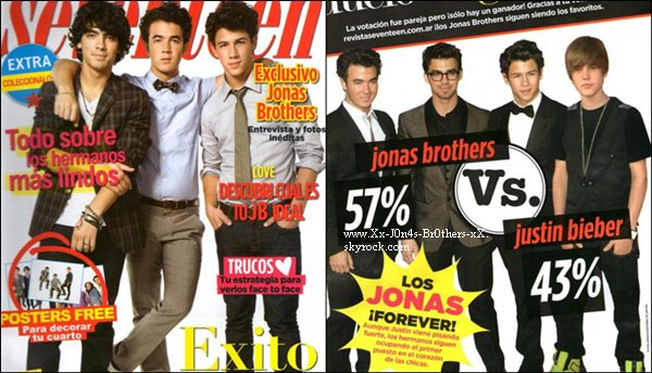 """Les Jonas Brothers font la couverture du dernier magazine Seventeen en Argentine.  Découvrez les stills de l'épisode de """"90210"""" où Joe participe. Le 19/10/2010 : Nick au match des Yankees à New-York."""