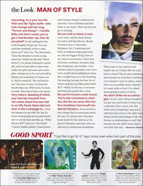"""Découvrez les scan du magazine """"InStyle"""" pour le mois de décembre où Joe apparais."""