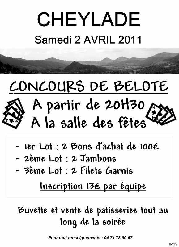 Concours de Belote le Samedi 02 avril 2011 à 20h30