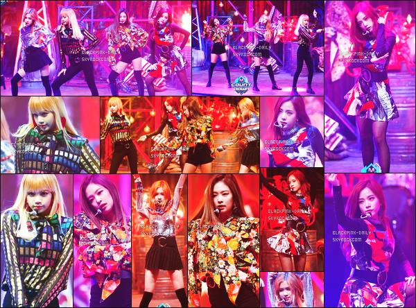 ----------------  10/11/16 : BlackPink a été photographiées durant les performances lors de l'émission   «  M Countdown »   -   Séoul.   J'adore beaucoup les tenues de tous le monde. Gros top pour la robe de Jisoo qui va vraiment bien avec sa chevelure longue rouge. Tops.   ----------------