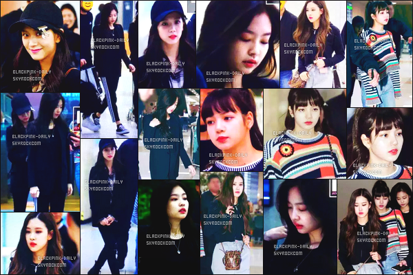----------------  01/04/18 :     Sublimes BlackPink photographiées arrivant dans la journée à l'aéroport de Gimpo  - en Corée du Sud.  Alors la j'adore toutes les tenues de BlackPink mais j'ai un coup de coeur pour la tenue de Jennie.  Gros top aussi pour Lisa, tres jolie.  ----------------