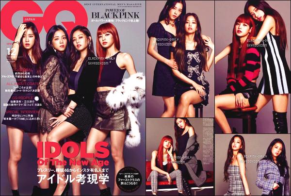 ----------------  •• Découvrez la couverture de nos BlackPink pour le magazine   QG  au Japon  - Octobre 2017.  Je suis tellement fan de la couverture, et c'est la premiere fois qu'un groupe de fille fasse la couverture de ce magazine. J'adore tellement.  ----------------