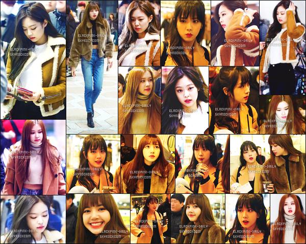 ----------------  20/01/18 : Nos  BlackPink photographiées arrivant dans la journée à l'aeroport de  Gimpo pour se diriger au Japon.  Alors la j'adore toutes les tenues de BlackPink mais j'ai un coup de coeur pour la tenue de Rose.  J'adore ses  manteaux. Flop pour Jisoo.  ----------------
