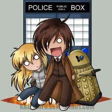 Le Docteur, Rose, Daleks et le T.A.R.D.I.S. (boîte bleue)