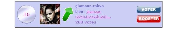 . Aide Glamour-Robyn a remporter le webtop du mois de Décembre! 1 vote = 1 lien 1 boost = 1 lien + une creation . VOTE ICI (tape Glamour-Robyn) .