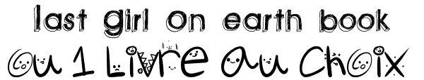 Nouveaux concour Remporte Last girl on earth book ou un livre au choix!  ll faudra atteindre les 100.000 pts pour reçevoir L'un des lots au choix, les 3 premiers aurons leur lien au blog. Le concour se finira le 30 Avril. Si toute fois personne n'atteint les 100.000 personnes ne remportera le lot ICI REMPORTE LAST GIRL ON EARTH BOOK OU LIVRE AU CHOIX AVEC GLAMOUR-ROBYN!