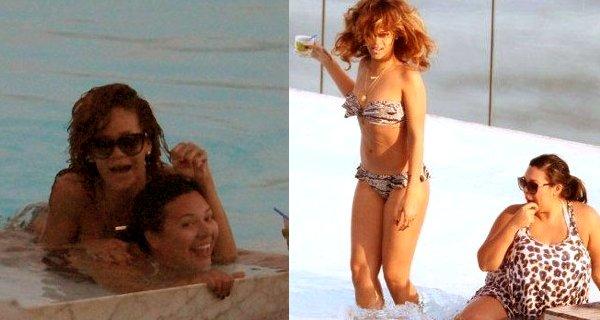 -Rihanna se relaxe à la piscine de son hôtel à Rio de Janeiro -----Article posté par Elodie.
