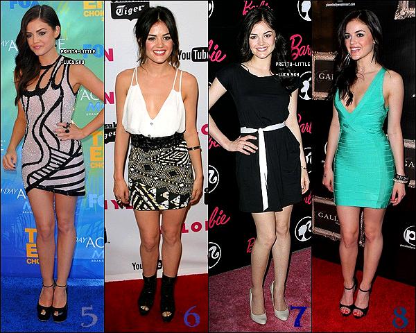 Voici quelques look de la belle Lucy , vote pour ton look favori.