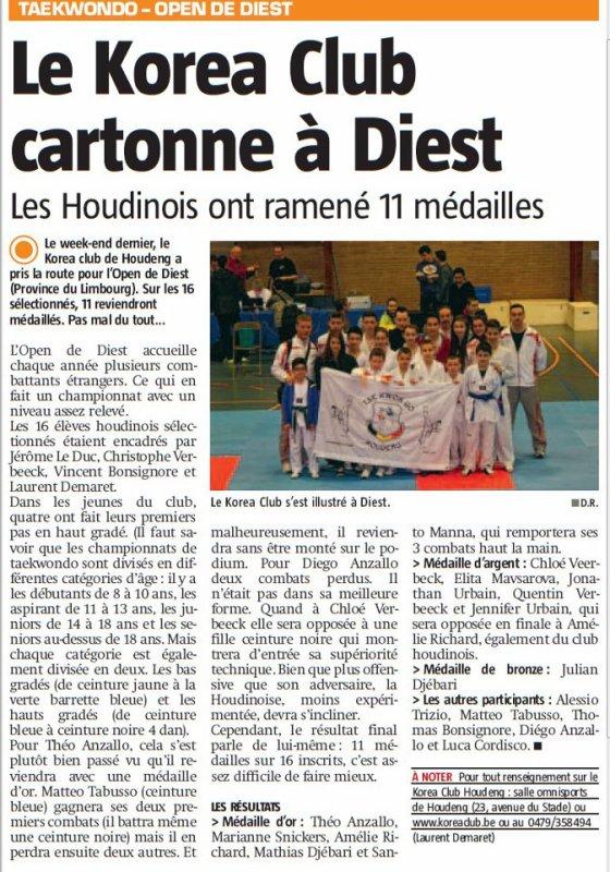 Article de presse Championnat de Diest