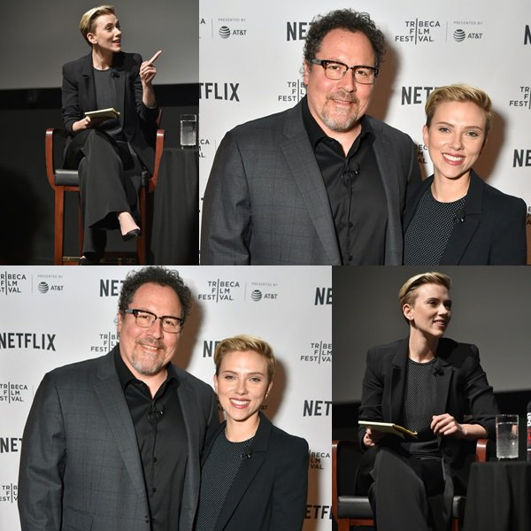 . ♦ Scarlett Johansson parle sur scène à Tribeca Talks: Jon Favreau avec Scarlett Johansson lors du Festival du film Tribeca de 2017 au SVA Theatre le 21 avril 2017 à New York  !  .
