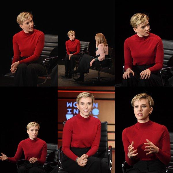 . ♦  Scarlett Johansson et Arianna Huffington parlent au cours du huitième anniversaire féminin au Sommet mondial du Lincoln Center for the Performing Arts le 6 avril 2017 à New York !  .
