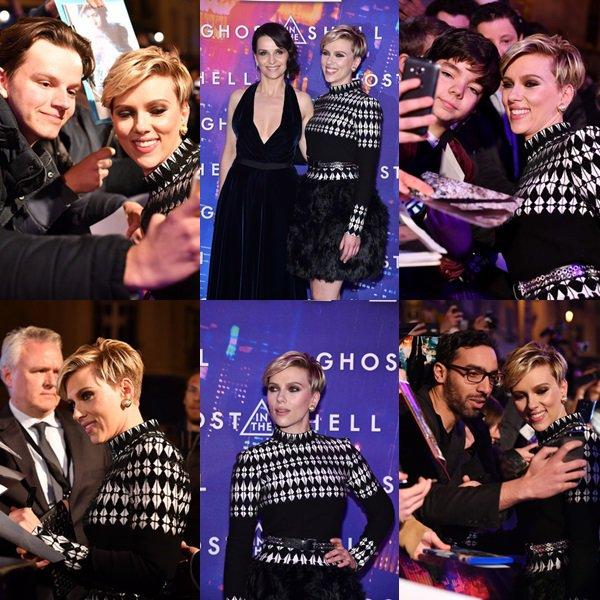 """. ♦ Scarlett assiste à la premiere de Paris de la sortie de Paramount Pictures """" Ghost In The Shell """", Le 21 Mars 2017 !  ."""